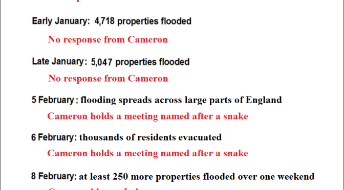 Here's Cameron's response to the flooding in a nutshell:
