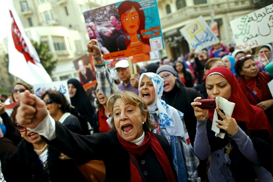 Egyptian women mark International Women's Day in 2013 by taking to the streets. Credit: AFP
