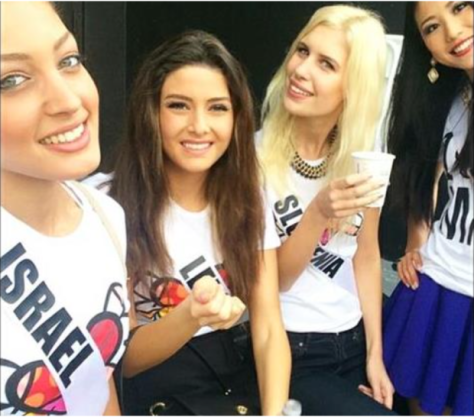 From left to right:  Miss Israel, Miss Lebanon, Miss Slovenia and Miss Japan.