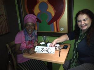 Taking tea with Barbara at Tea Tree Creperie… and our initials in chocolate!  (Photo: Quizz at Tea Tree)