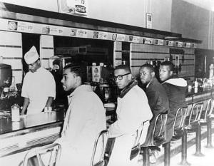 The sit-in at a Woolworth's store in Greensboro, NC by four freshmen at  North Carolina Agricultural and Technical State University sparked a series of non-violent protests. By the end of the week, 1,400 students turned up at the Woolworth's store! They helped to turn the tide against segregation in the South.