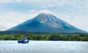 A boat on Lake Nicaragua, which the canal will pass through. Yes, that is a (not entirely dormant) volcano