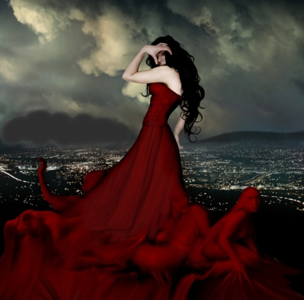 Red Dress Fantasy Wallpaper