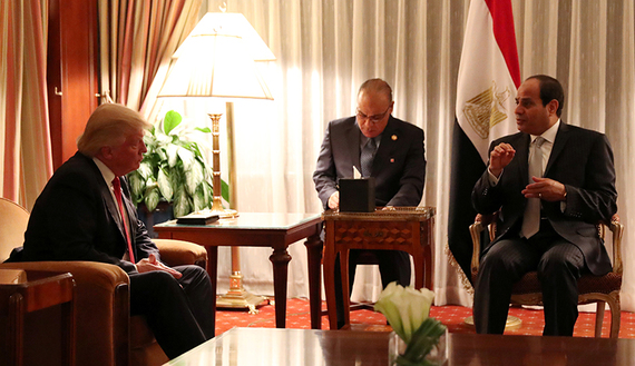 Republican presidential nominee Donald Trump holds a bilateral meeting with Egyptian President Abdel Fattah el-Sisi in Manhattan, New York