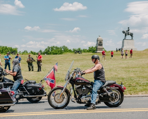 An online threat from the supposed leader of antifa called for the burning of American flags on the grounds of the Gettysburg National Military Park where militias and other white nationalists assembled to protect the historic grounds. (Photo by Andrew Mangum for The Washington Post).