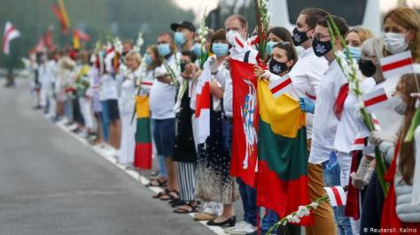 Human chain in support of Belarus' protests in Lithuania