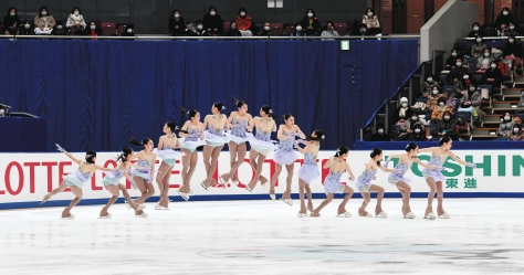 Rika Kihira executes a quad salchow in her free skate at the national figure skating championships in Nagano on Sunday.   KYODO