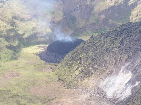 La Soufriere began spewing ash along with gas and steam, in addition to the formation of a new volcanic dome, caused by lava reaching the Earth's surface