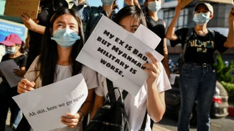 Many of the signs are in English, highlighting the desire to appeal to an international audience. Credit: AFP File Photo