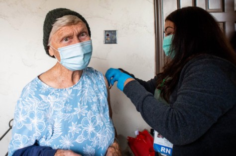 Monterey Park Hospital nurse Liliana Ocampo gives Sister Virginia Stehly her second COVID-19 vaccine at the Sisters of St. Joseph of Carondelet independent living center in Los Angeles on Wednesday, March 3, 2021 during a pop-up vaccination clinic. (Photo by Sarah Reingewirtz, Los Angeles Daily News/SCNG)