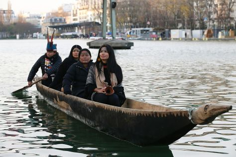 Eduardo Kohn Sarayaku - Sarayaku community leaders launched a hand-carved, 30-foot cedar canoe into Parisian waters during the international climate change conference in 2015 to raise awareness of the Amazon and its Indigenous peoples.