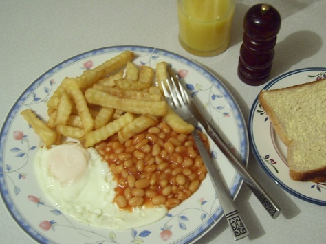 egg chips and beans