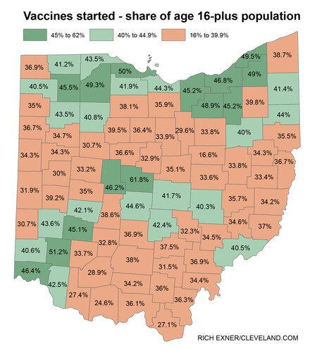 Ohio coronavirus vaccination rates by county, April 12