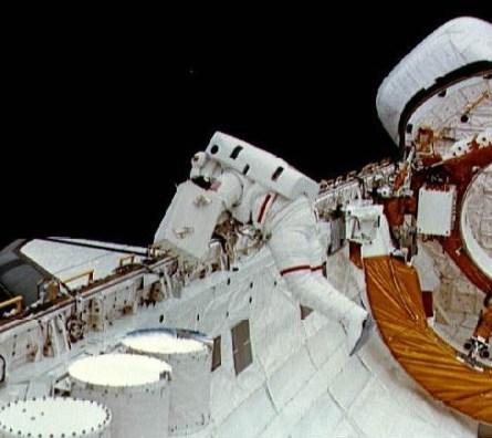 1983 – The first Space Shuttle spacewalk