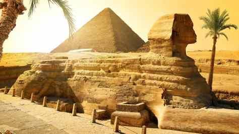 wallpaper et fond d'écran pyramide Sphinx de Gizeh Giza nature paysage monument Egypte Egypt pays voyage travel tourist tourisme photo photographie