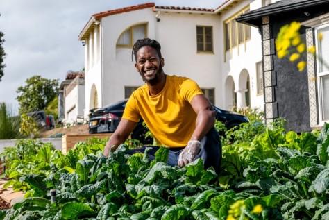 Jamiah Hargins, founder of Crop Swap LA and the urban gardener behind the Asante Microfarm.