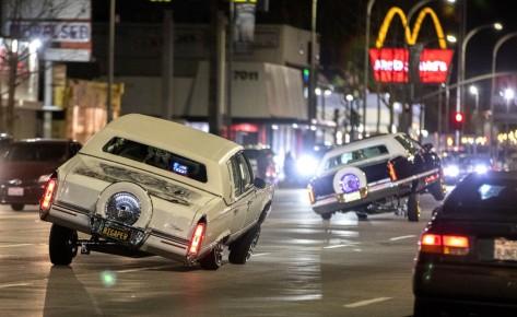 Lowriders cruise down Van Nuys Boulevard