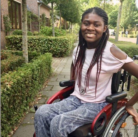 The Wheelchair Teen in her wheelchair.