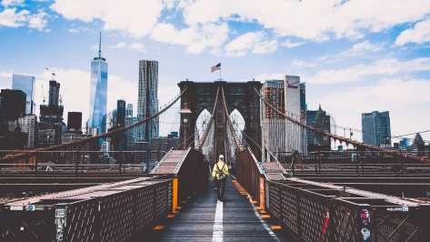 wallpaper et fond d'écran pont Brooklyn Manhattan New York Bridge pays paysage ville city monument Amérique Etats-Unis voyage travel tourisme tourist photo photographie photography