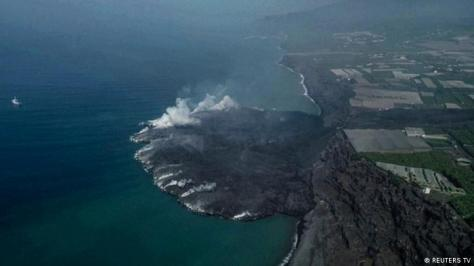 New land created by the volcano can be seen in aereal footage