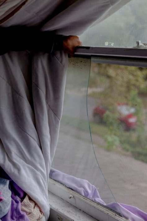 A window in Ms. Higbee's house.